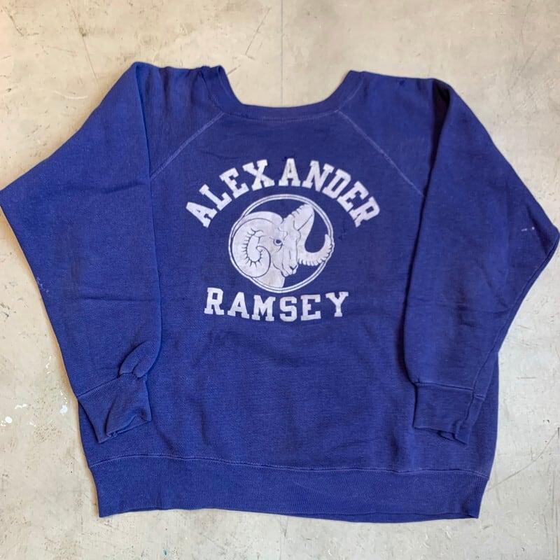 50's 60's UNKNOWN ラグランスウェットシャツ ALEXANDER RAMSEY フロッキープリント ネイビー ナス紺 M~L 希少 ヴィンテージ BA-1238 RM1607H
