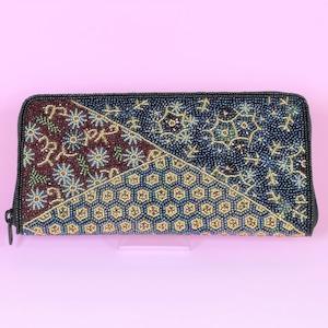 ビーズ刺繍 長財布 (#145 赤帯)