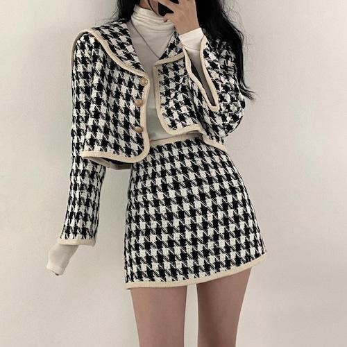 【2点セット】ミディカラージャケット+千鳥スカート ・18133