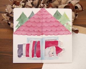 クリスマスカード サンタが窓にはまっちゃった