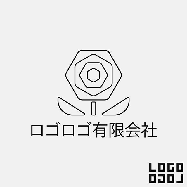 ロゴマークデザイン - 花を線で描いたシンプルかつ洗練されたデザインのロゴ