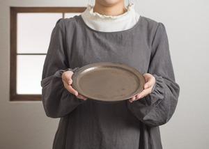 マンガン釉 7寸 プレート(中皿・22cm皿)/鈴木美佳子