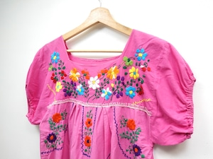 Hand embroidered Mexican dress PINK