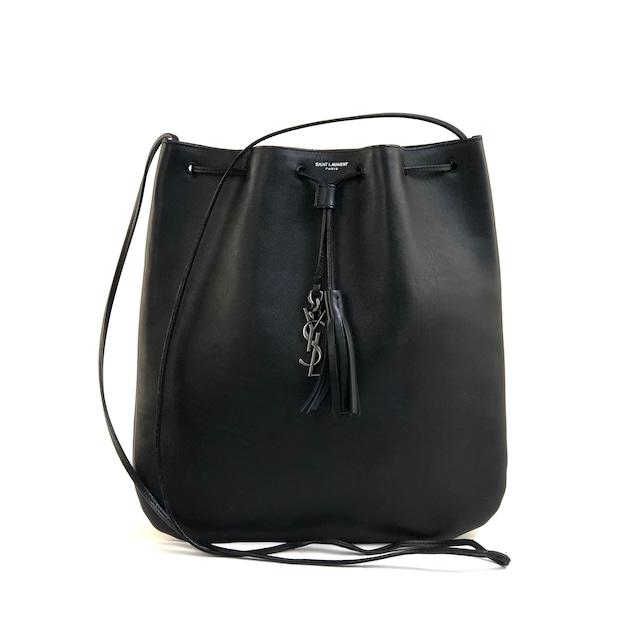 Yves Saint Laurent イヴ サンローラン タッセル YSLチャーム 巾着 レザーショルダーバッグ ブラック vintage ヴィンテージ オールド  7n8jjw