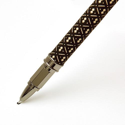 印伝水性ボールペン ひょうたん 黒革×白漆