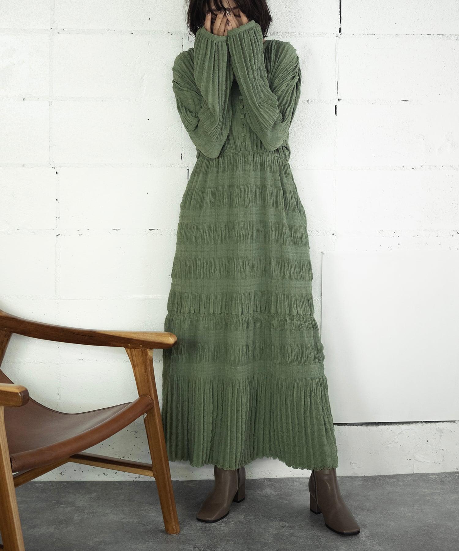 PLEATS LONG DRESS(GREEN)