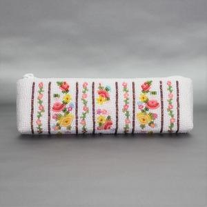 メガネ・ペンケース 258 白ボーダー ビーズ刺繡