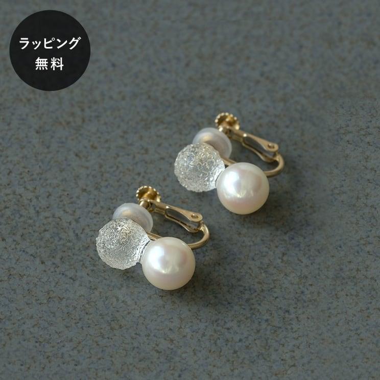 ハリオ HARIO イヤリング スノーパール K10 真珠 aa-0128