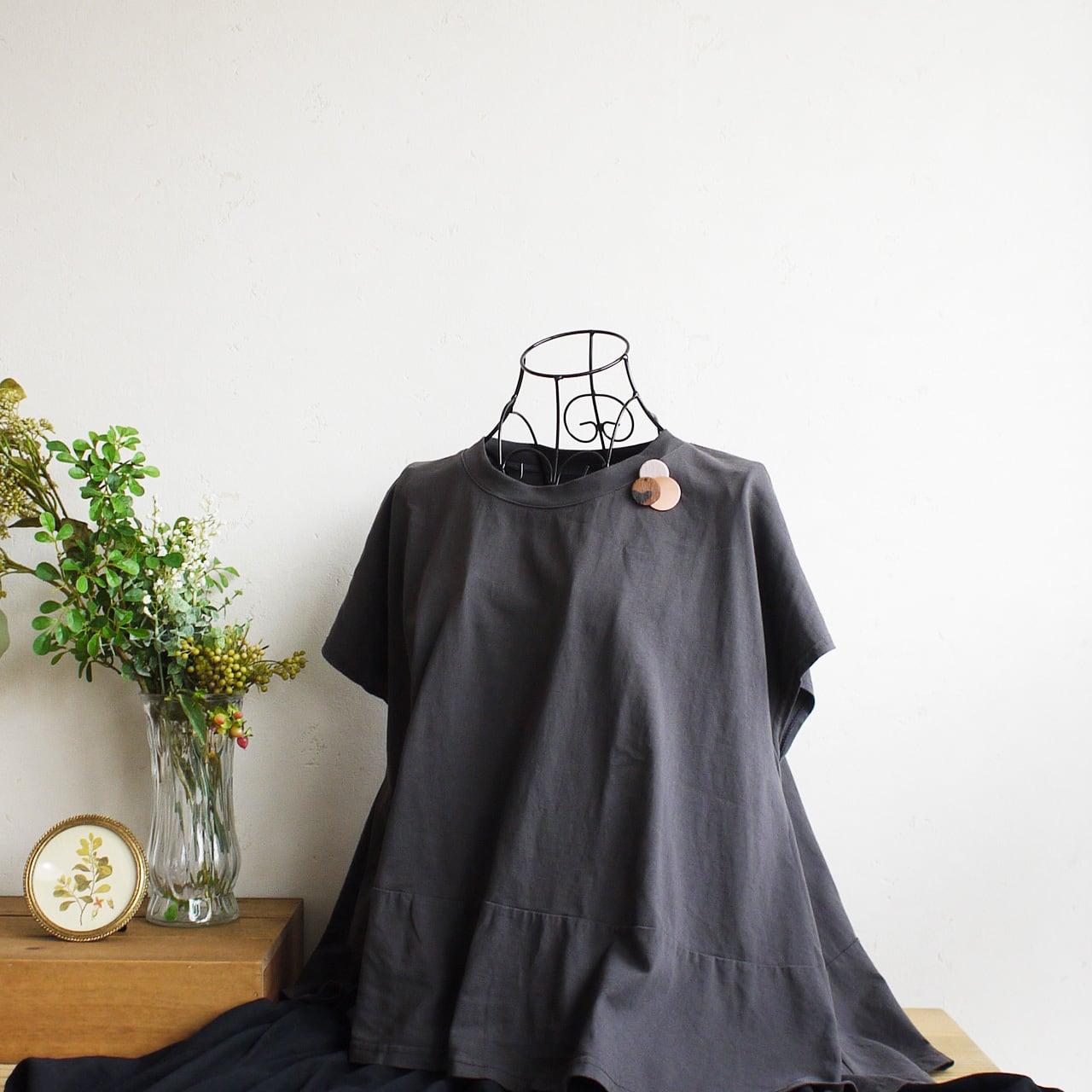 どんなお洋服にも似合う!シンプルフォルム ハラコ&カッパー&麻のブローチ〈 Dots 〉ハラコ