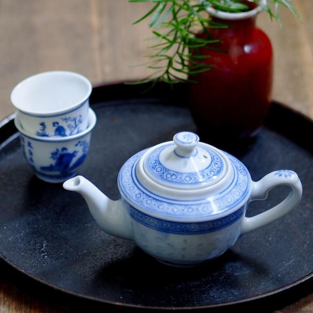 『水平壺/茶壺/Blue&White』景徳鎮/ホタル