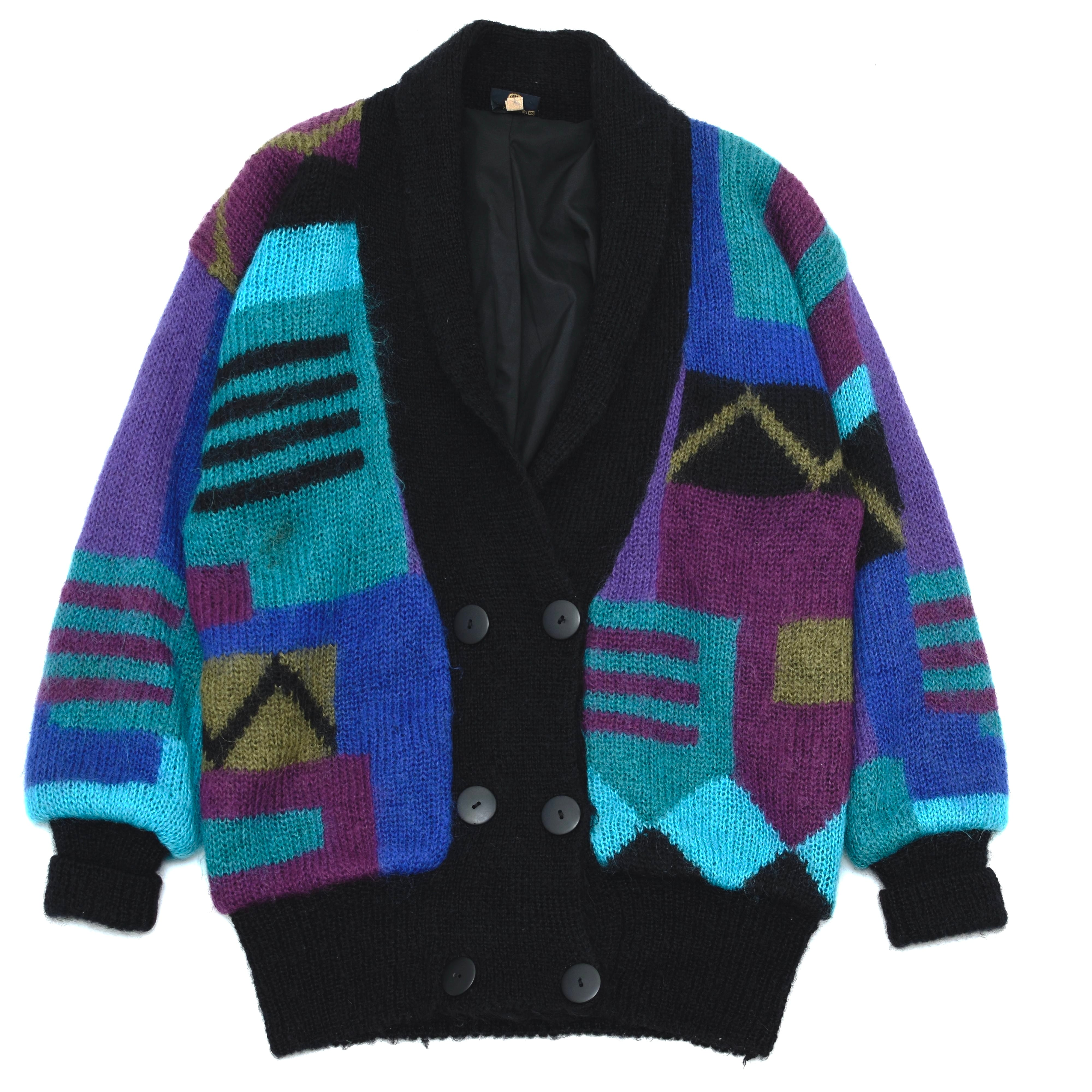 Vintage colorful mohair knit cardigan