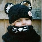 【即納】もこもこ 黒猫 帽子&ネックウェアー S503