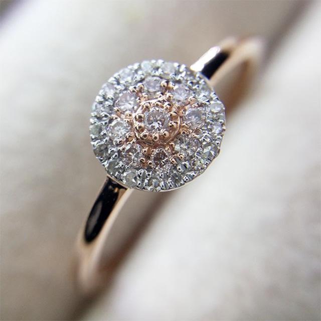合計 0.11 ct アーガイル産 ピンク 系 ダイヤモンド リング