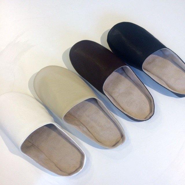 sarasa design【b2c】ルームシューズ   プレーンステッチS  ホワイト/ベージュ/ブラウン/ブラック