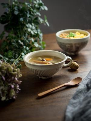 鉄散 手付き 斜めしのぎスープカップ(信楽焼・スープカップ・スープボウル)/古谷 浩一