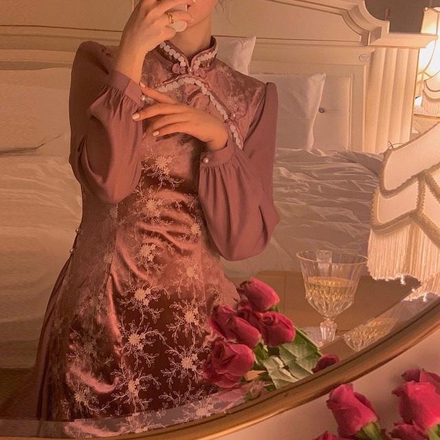 【香怜シリーズ】★チャイナ風ワンピース★ チャイナ服 ベルベット 成人式ドレス S M L LL スリム 可愛い