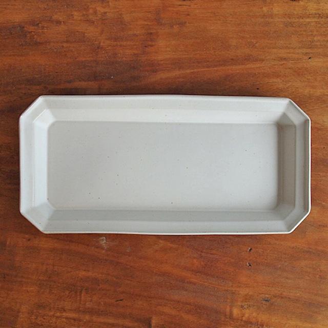吉田健宗 | 白釉リム角長皿