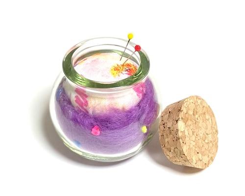 ピンクッション むらさきのウール針山 サボテン コルクビン