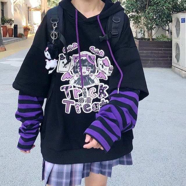 【トップス】キュートかわいいファッションプリント長袖フード付きパーカー50336888