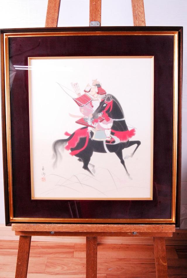 1915 名品 武士 肖像画 日本画 肉筆 額装 色紙画 73×65.2cm