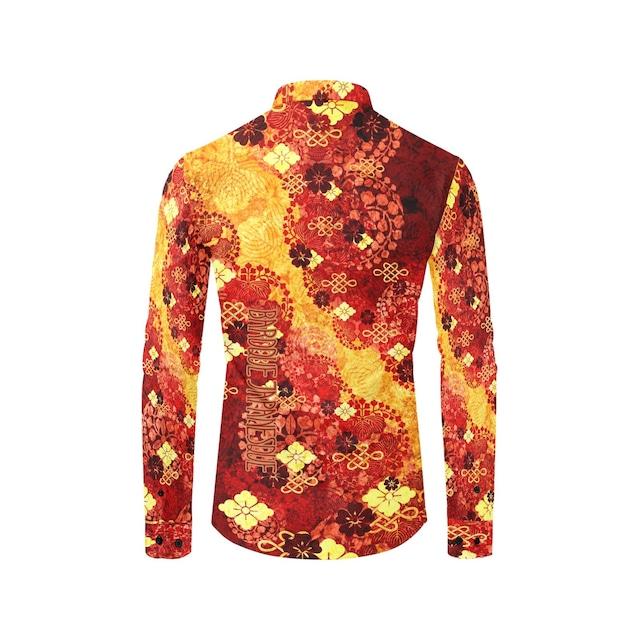家紋装飾 紅黄 ユニセックスサイズ長袖シャツ