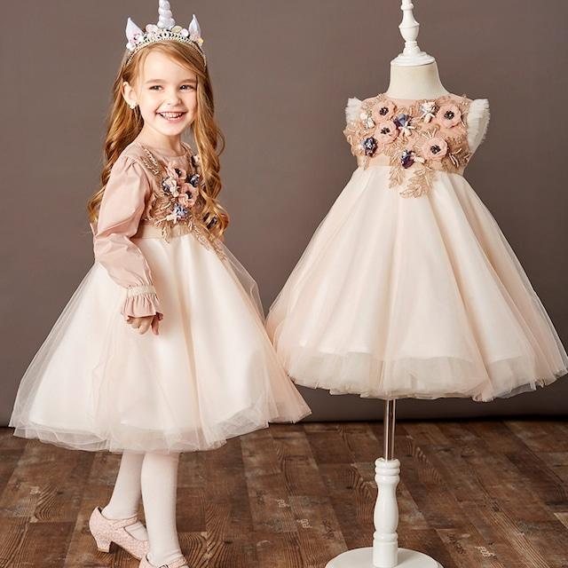 子供ワンピース キッズドレス 舞台装 ビーズ リボン飾り ピンク 上品 110cm 120cm 130cm 140cm 150cm 160cm
