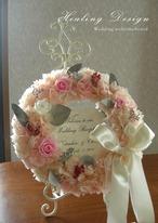 ウェルカムボードリース(ピンクアジサイ)結婚式