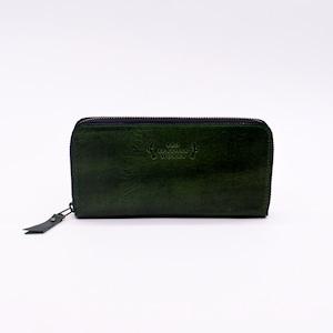 Round zip wallet BL green