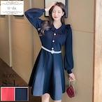 No.488 韓国ワンピース きれいめワンピース 大人可愛いワンピース フレアワンピース 2color
