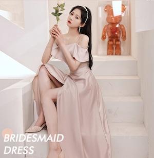 ピンク ロングドレス サテン パーティードレス TM0194