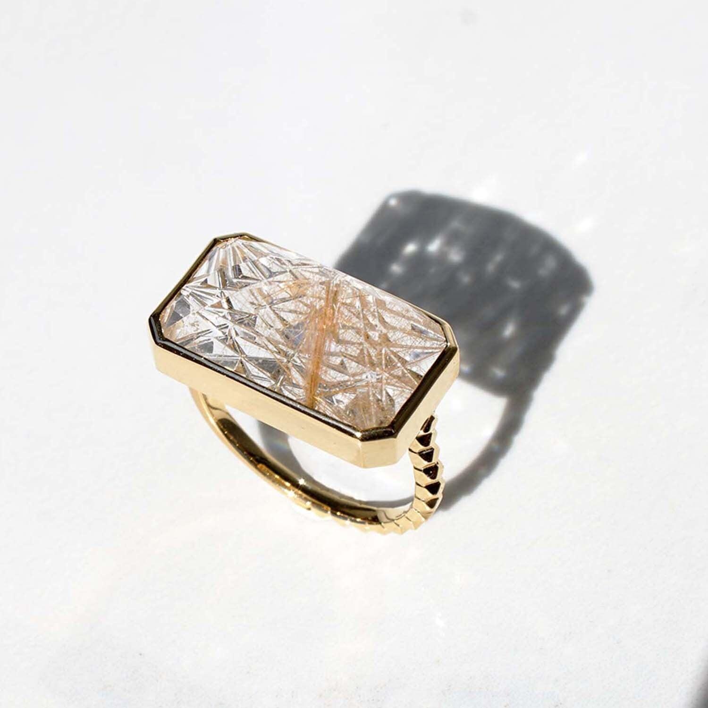 Rutilated Quartz KIRIKO Ring(R151-RQ)