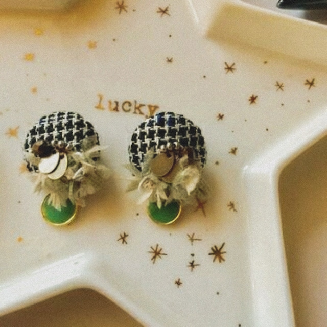 【Jewelry of fabrics】 ひとつぶの宝石に見立てたイヤリング