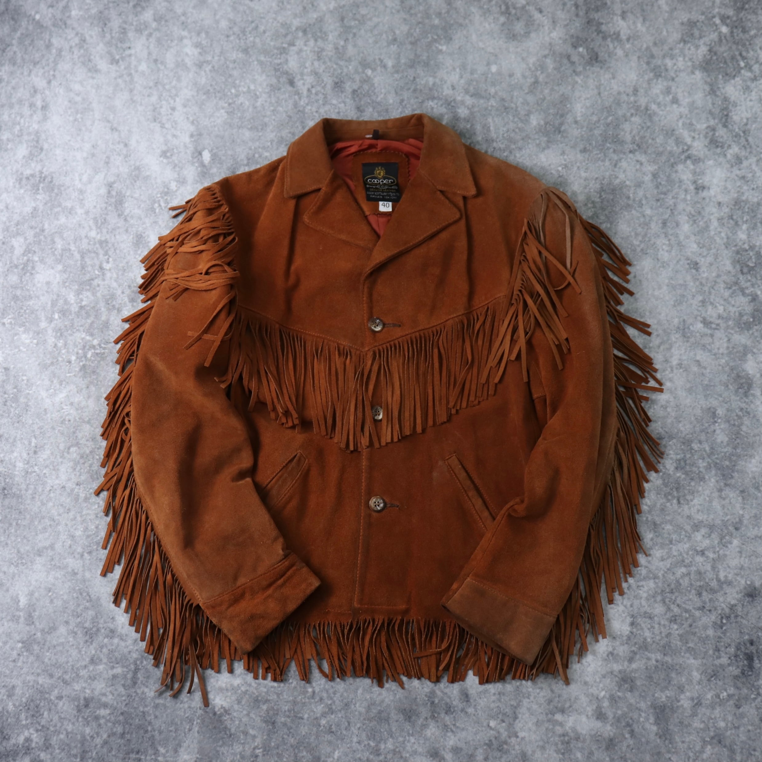 """70s  """" Cooper """"  Suede  Leather  Jacket  40   70年代 クーパー スエードレザージャケット フリンジ ブラウン 古着 A658"""