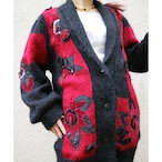 Red × black flower knit outer