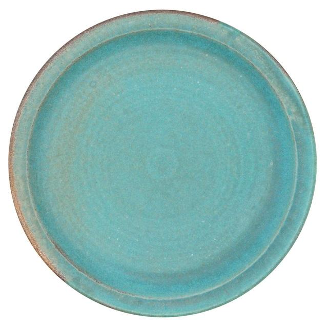益子焼 わかさま陶芸 プレート 皿 L 約24cm シャビーターコイズ 256234