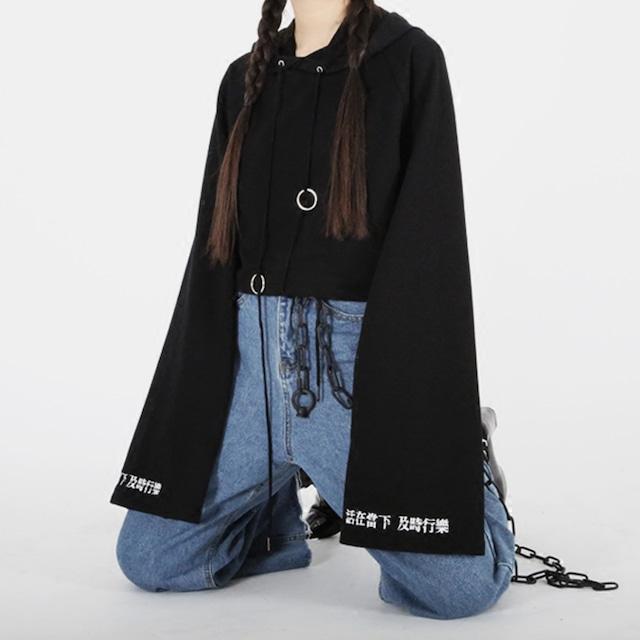 【暴力雜貨シリーズ】★パーカー★ トップス ミニ丈 長袖 オリジナル 着痩せ ブラック 黒い レトロ ファッション