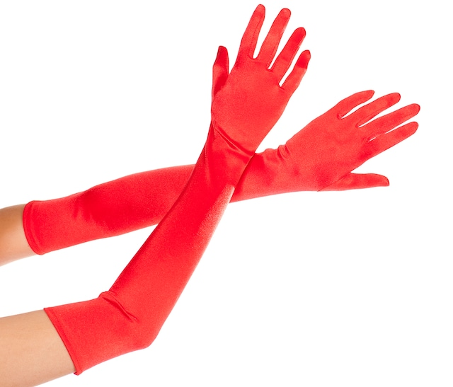 ML452R グローブ赤 サテン ロンググローブ