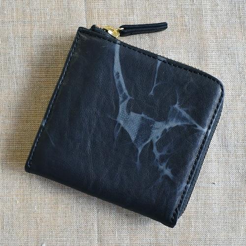絞り染めラウンドファスナー革財布 TIE-DYE  日本製