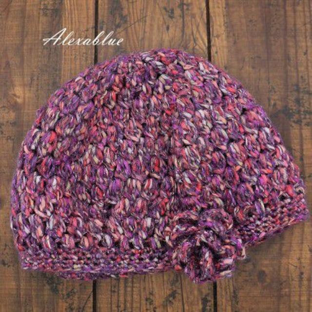 秋冬パープルニットベレー帽