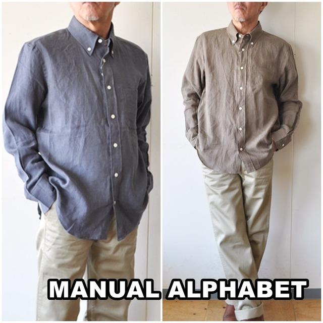 MANUALALPHABET  マニュアルアルファベット 麻 リネンシャツ メンズ ボタンダウンシャツ BASIC-BG-009