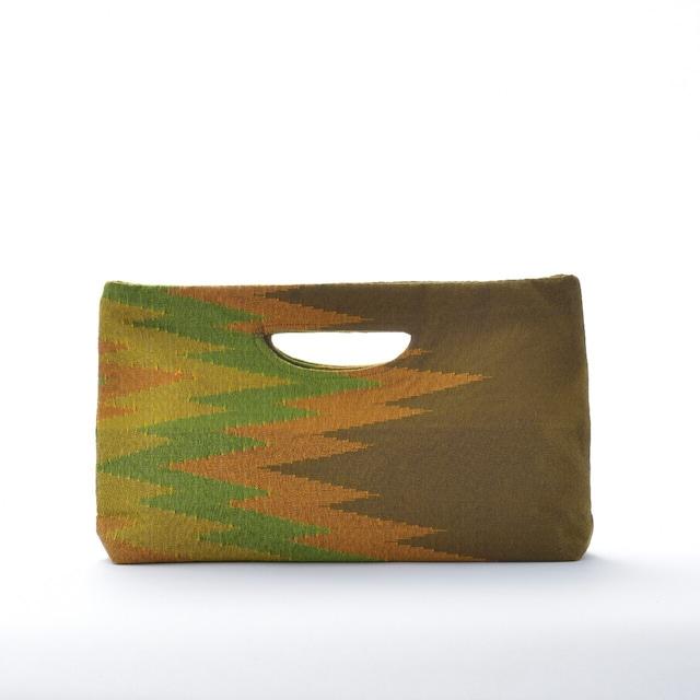 手織りペンシルバッグ ダークグリーン×グリーン