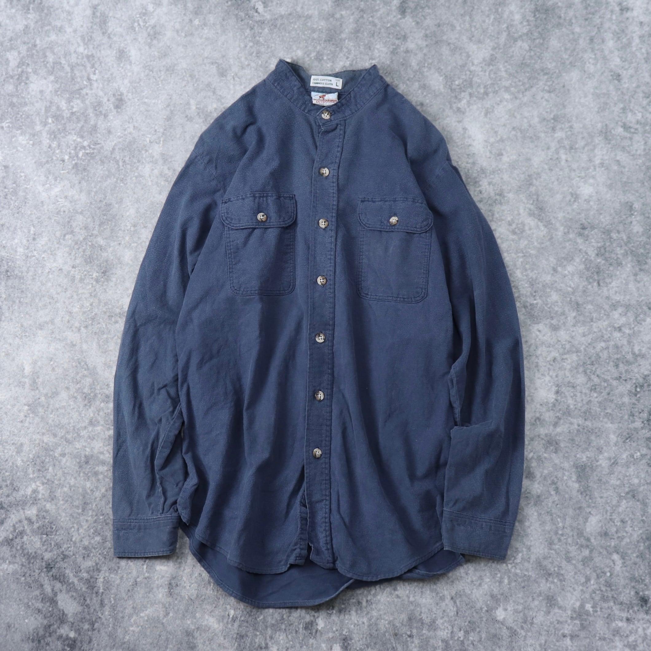 80年代 ''Prentiss OUTDOORS'' USA製 コットンネルシャツ 長袖シャツ バンドカラーシャツ 古着 A278