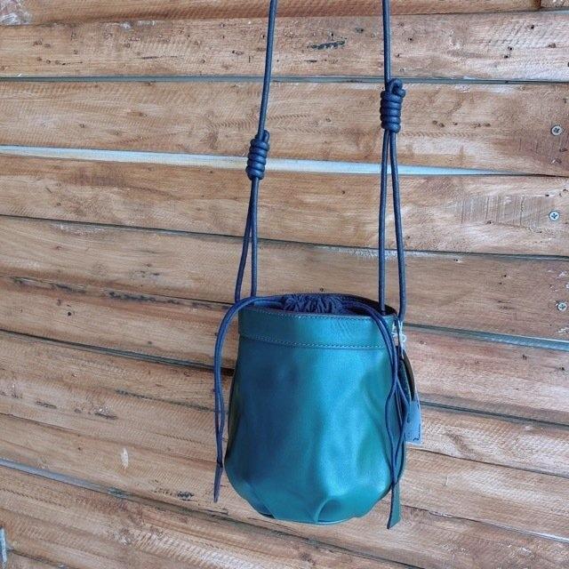 Topanga Bag コロン巾着レザーバッグ グリーン