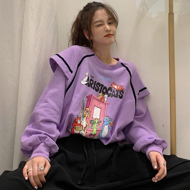 【トップス】ファッションルーズフリルスウィートINS風パーカー52194867