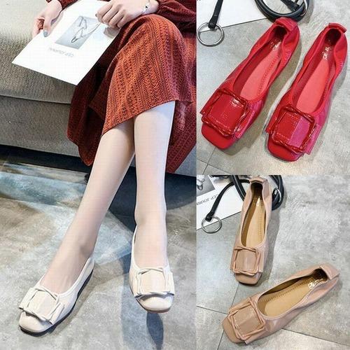 エナメル フラットシューズ フラットパンプス 韓国ファッション パンプス ラウンドトゥ スクープシューズ レディース DCT-574094888923