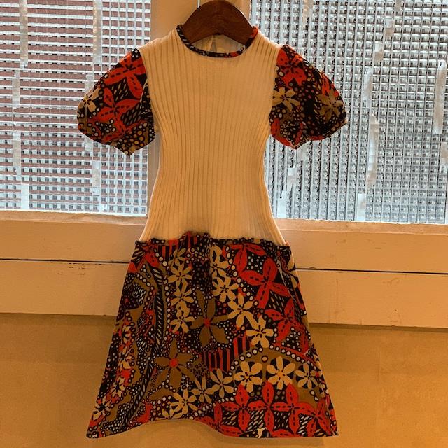 【送料無料】【KIDS】70's jersey and floral cotton dress - French - Size 5 years old-