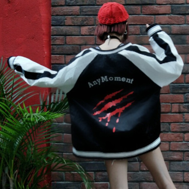 【アウター】超人気ストリート系プリントラウンドネックジッパー配色ジャケット26819582