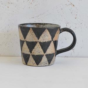 渡辺信史 黒釉ロウ抜きマグカップ(009-1)