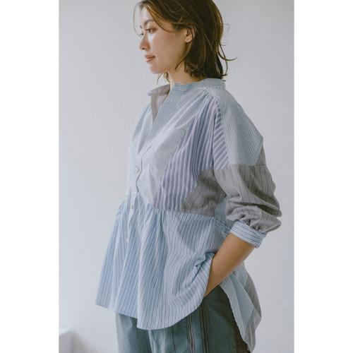 【RehersalL】stripe shirt patch blouse(blue) /【リハーズオール】ストライプシャツパッチブラウス(ブルー)