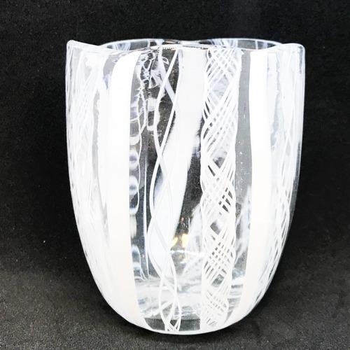 Item567 ヴェネチアングラス タンブラー striscia ストリスィア ストライプ レース模様 ホワイト